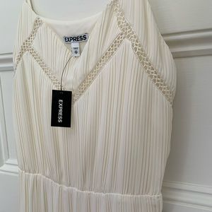 NWT EXPRESS PLEATED WHITE DRESS